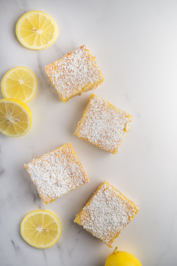 Meyer Lemon Bars, citrusy and sweet with buttery crust