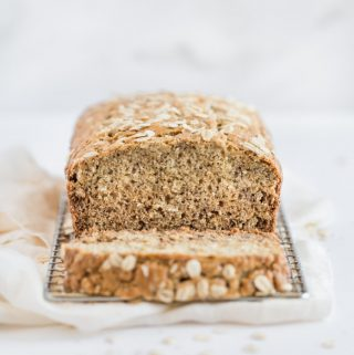 banana bread, oatmeal banana bread, breakfast bread