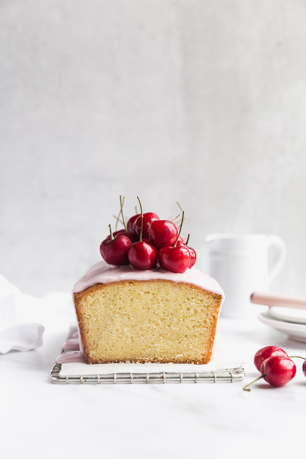 Lemon Cake with Raspberry Glaze