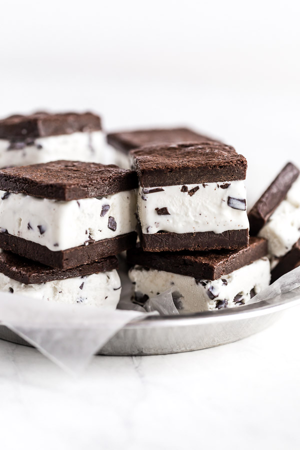 Brownie Mint Chip Ice Cream Sandwiches