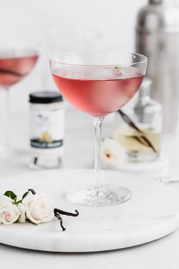 vanilla bean and rosewater vodka martini